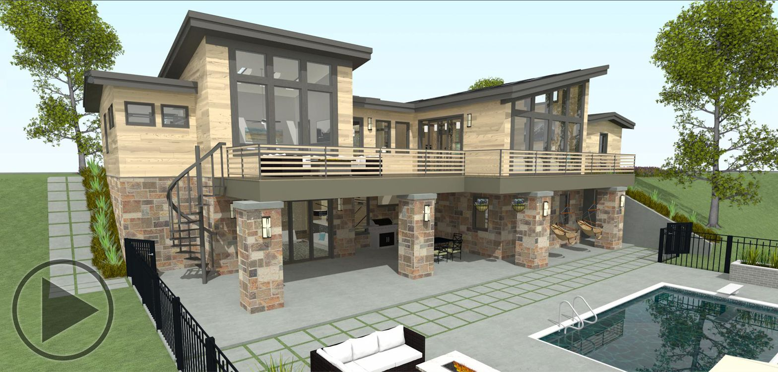 An exterior view of a home with a deck, patio, and swimming pool.