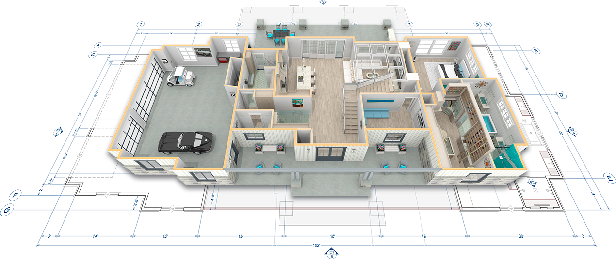 Overview image with floor plan looking inside the house at the kitchen, garage, and living spaces with the roof removed.