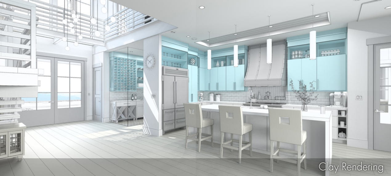 Ray Trace and Clay render comparison of a modern kitchen with wood cabinets and turquoise tile near a wine cellar and foyer.