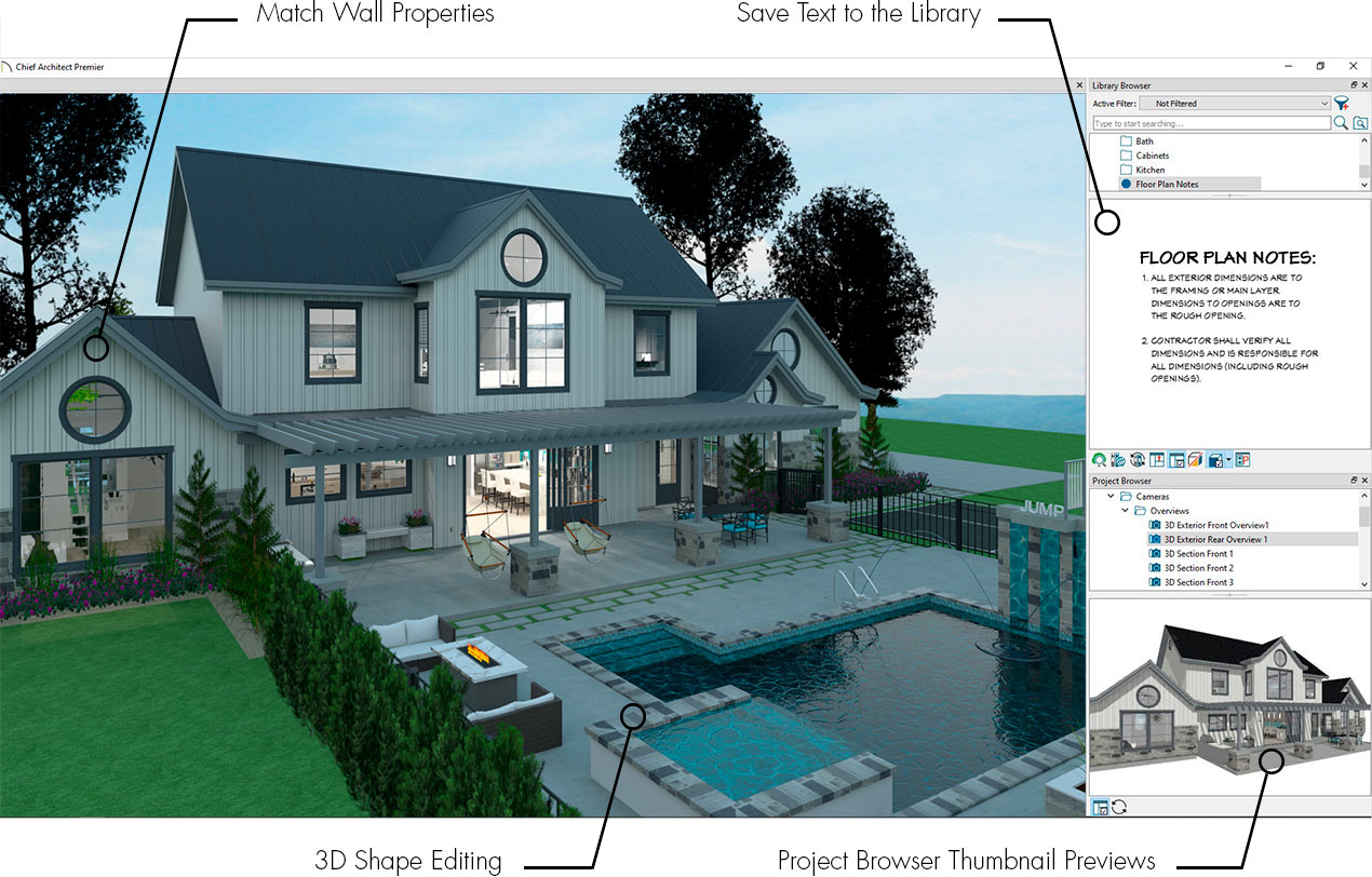 House with patio and pool displaying new features of 3D shape editing, previews, match wall properties and saving text.