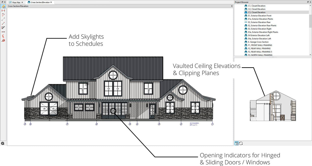 Exterior elevation showing new features like door and window opening indicators, schedules and vaulted ceiling elevations.