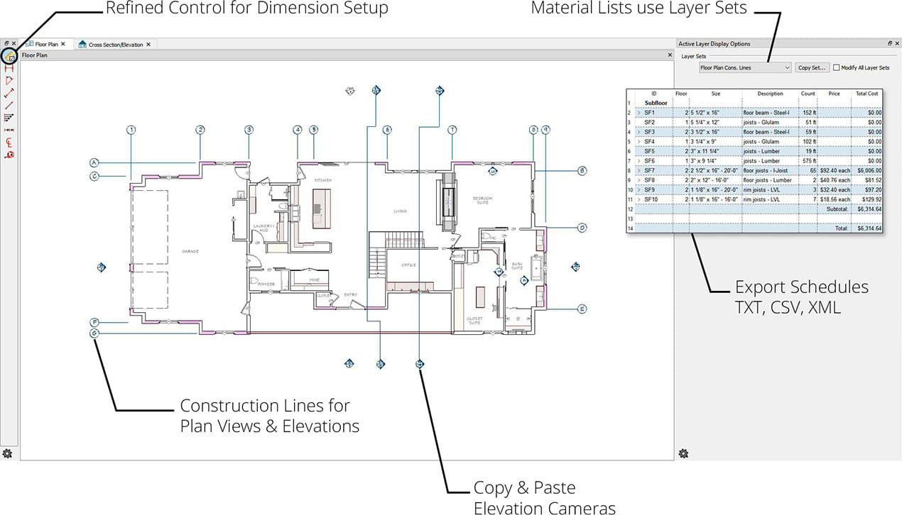Program interface displaying a plan with construction lines, elevation cameras, material list, layer set and schedule export.