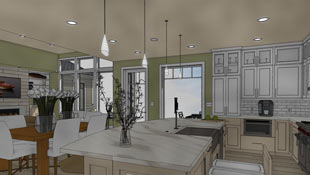 The watercolor technique applies loose color variation to give a painted feeling in this kitchen rendering.