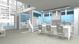 This rendering represents the clay rendering views giving the look of a clay sculpture with a blue accent color.