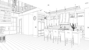 Illustrating a rendering technique available in design software, this view appears to be hand sketched in black and white.