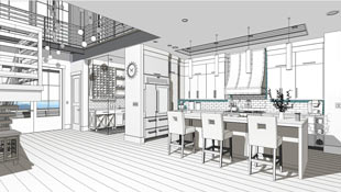 A Technical Illustration filter is used on this scene to create a line based drawing with color fill in a kitchen perspective.