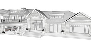 A Technical Illustration filter is used on this scene to create a line based drawing with color fill in a house's exterior perspective.