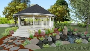 Octagonal gazebo is elevated with a stone path and steps for access sits beside a tranquil stone lined pond.