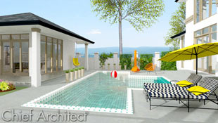 Sunny concrete backyard patio, pool house, black and white striped chaise lounges accented with yellow pillows and sunshade, and tangerine orange fireplace and patio chairs compose this relaxing poolside scene.