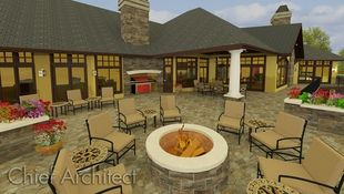 This giant stone patio in the backyard of a large home easily seats eight around the fire pit and a dozen more in the other spaces defined by planters and covered patio areas.