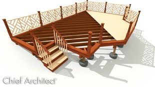 A visualization of a deck with diagonal joist framing and planking, footings, and railings.