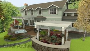 An exterior rendering of a house with attached multi-level deck and covered patio includes a hot tub, fire pit area.
