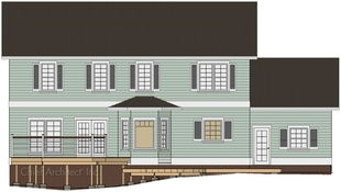An exterior elevation drawing illustrates how a multi-level deck is supported with posts and footings on an uneven terrain.