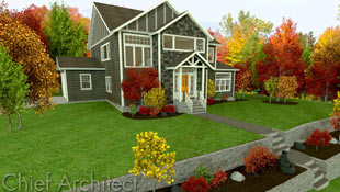This terraced residential lot illustrates a grey-brown house with shingle siding, board and batten gables, and white trim set against a background of vivid red, orange, yellow, and green fall foliage.