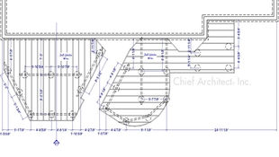 A dimensioned plan view of deck framing with section callouts and on center spacing for footings.