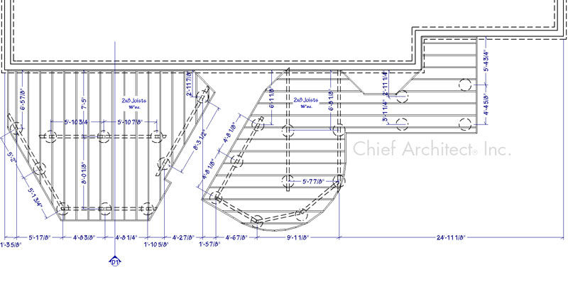a dimensioned plan view of deck framing with section callouts and on center spacing for footings
