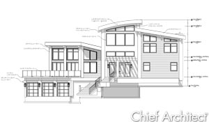 A front on black and white line drawing view of a split level modern luxury home with an angled wing, garage on the lowest level, can bowed roof at the highest ridge, that features dimensions and note detailing the elevations heights and material choices.