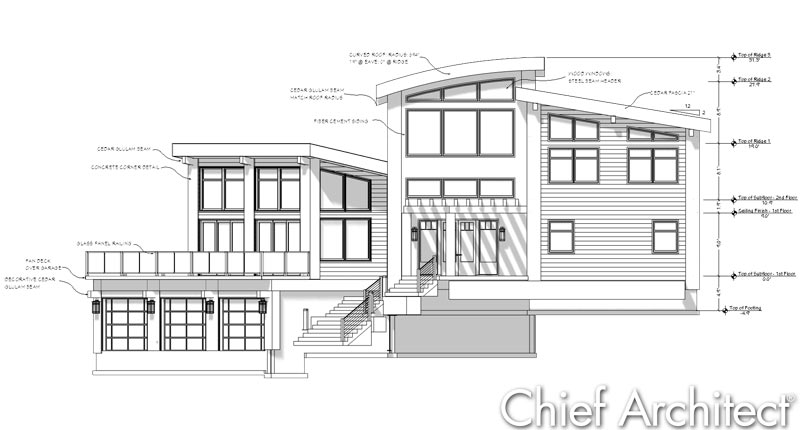 Civil Drawing Front Elevation : Chief architect home design software samples gallery