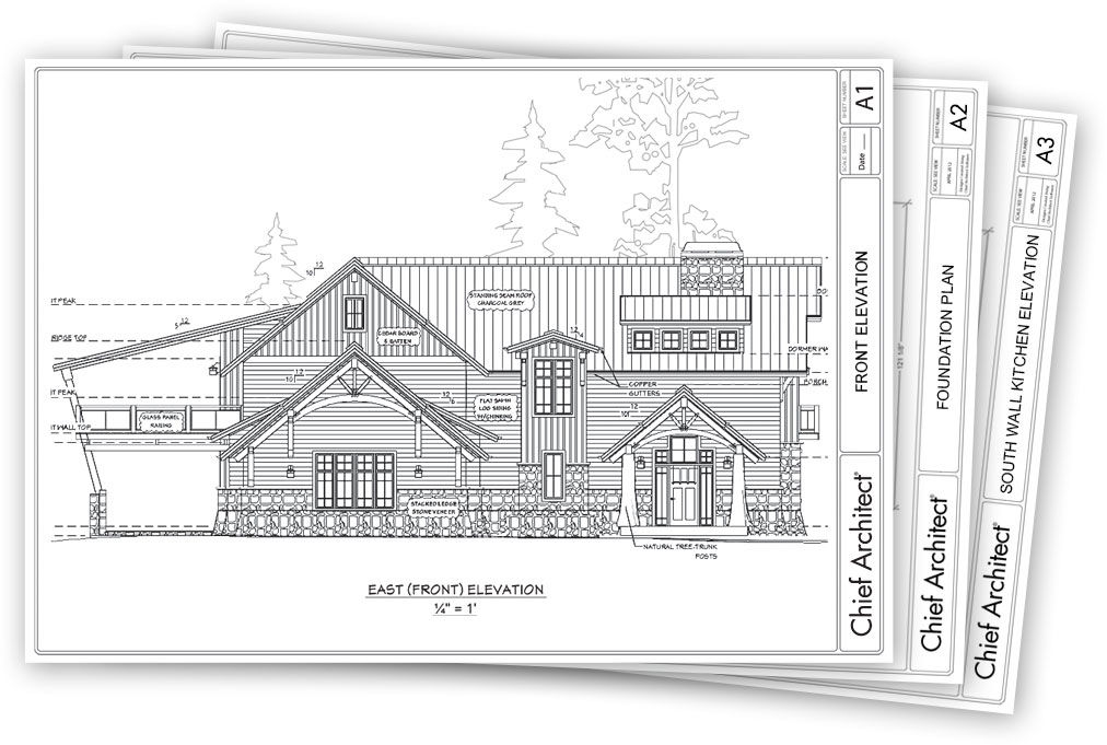 Chief architect home design software samples gallery for Complete set of architectural drawings pdf