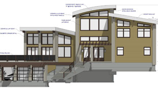 A color front elevation of a contemporary multi-level home shows shadows under the roof eaves, text callouts and arrows for notes, and story pole dimension marking key locations for the structure.