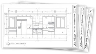A fanned out display of 3 pages in a design construction document with the top page a black and white line drawing Wall Elevation of a kitchen with appliances, cabinets, windows, all with dimensions and centerline markers.