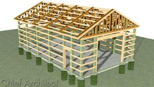 Creating post and beam pole barn structures by altering framing sizes and spacing and applying girts to space the trusses and tie together the structures exterior surface.
