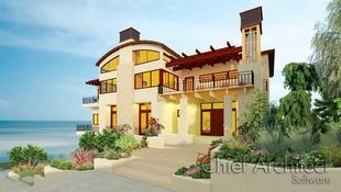 A stucco contemporary home with barreled roof and 2nd floor balcony trellis overlooks a sunny beach.