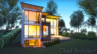 A high-quality ray trace of an exterior contemporary home at dusk, walls of windows glow in amber hues creating a warm inviting scene.