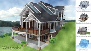 Home designs can be rendered in a variety of techniques including watercolor, glass-house, slider-sections, and elevations with technical information.