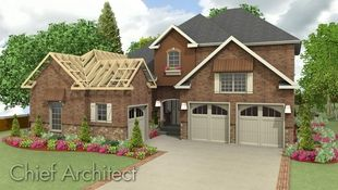 Homes can be rendered to show framing and finish materials simultaneously; this brick house looks move-in ready except for the illustration of framing trusses over the garage.