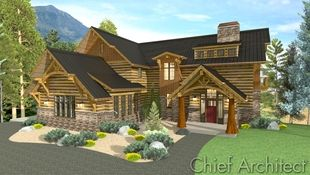 A take on timber frame construction in the form of a classic mountain home with shed dormer, prow roof overhangs, custom trusses, log siding with chinking, and flared stone skirt exhibit the flexibility in home design software.