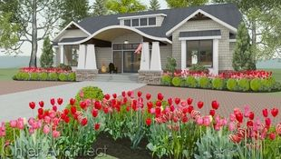 Exterior rendering of a single story house with a barrel roof entry, shed dormer, flanking box windows, and red and pink tulips in the front beds.