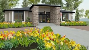Exterior rendering of a contemporary home with a high stone entry and hipped roofs and yellow tulips and daffodils in the front yard.