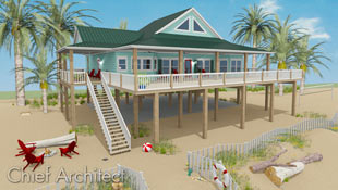 Beach lovers would envy this ocean view house set up on pilings in fresh teal colors and  airy Dutch gable roof, open porch surround, bright red beach chairs, and even a quaint white picket dune fence.