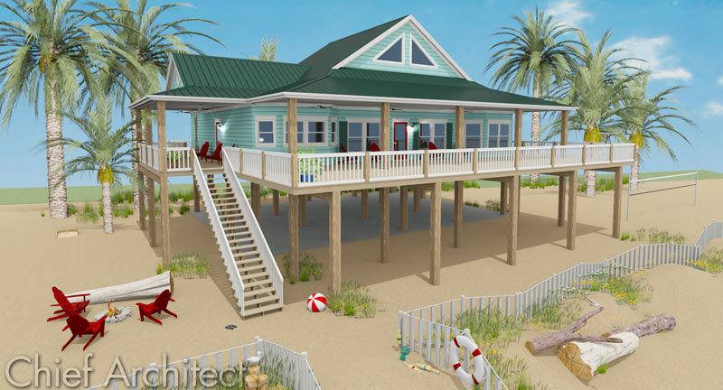 Chief architect home design software samples gallery for Beach house pilings
