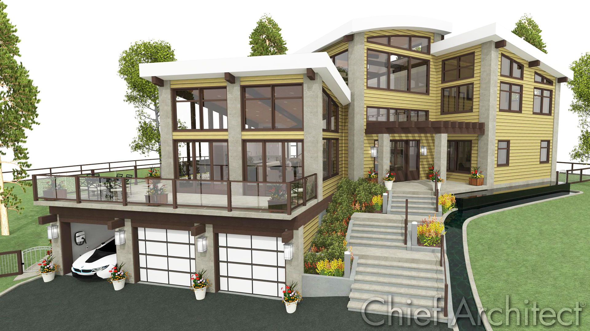 Chief architect home design software samples gallery for Building a garage on a sloped lot