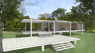 Legendary architect Philo Farnsworth inspired this technical line rendering of a home on pilings set against a realistic lush and park-like background.
