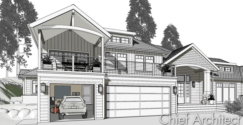 Chief architect home design software samples gallery for Exterior house drawing