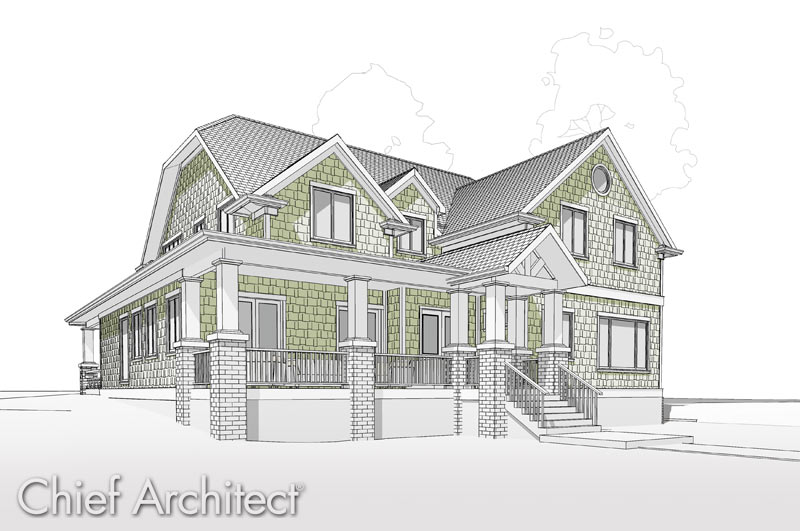 architecture house sketch. Beautiful Sketch Wraparound Porch Starts With A Gable At The Front Entry Of This  Shingled Halfhip House That Is Rendered In Technical Style Green Highlights On Architecture House Sketch
