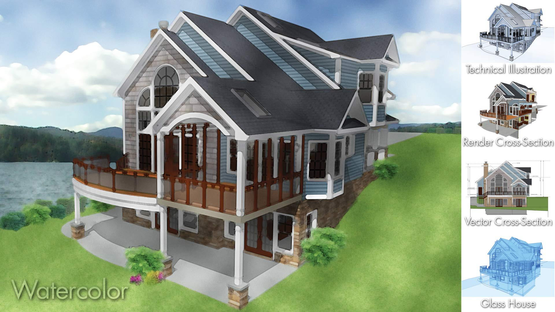 Althome designs can be rendered in a variety of techniques including watercolor glass house slider sections and elevations with technical