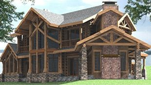 Another angle of an intricate log home, this one featuring the traditional tall stone fireplace.