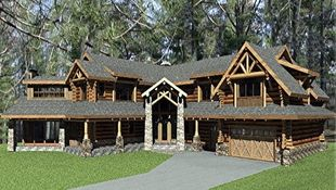 This angle of an intricate log home boasts the stone and timber entrance, a covered deck, and lots of shed dormers.