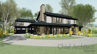 samples gallery chief architectan exterior rendering of the modern bungalow sample plan is simple and contemporary with yellow flowers