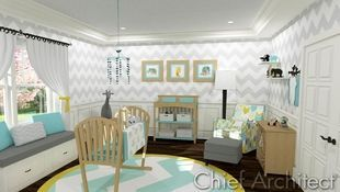A zig-zagged and chevroned nursery in grey, teal, and yellow is fun but elegant and has all the prerequisites for bringing baby home.