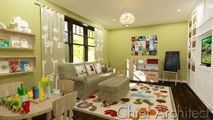 This playroom is homey like split-pea soup, its plush wildlife inspired rug is perfect for tumbling, and the plethora of books, toys, crafts, and TV time will keep any child happily occupied.