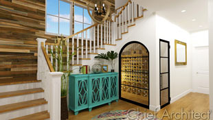 Making good use of under stair space, a large window and glass door offer a peek of wine storage to anyone who enters this foyer featuring wood floors, reclaimed barnwood on an accent wall, a bright teal entry cabinet, and offset in bright white walls surrounding.