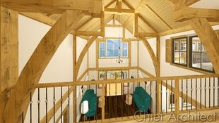 From the 2nd floor catwalk, you can overlook the great room and the timber frame trusses that create a dramatically vaulted space.