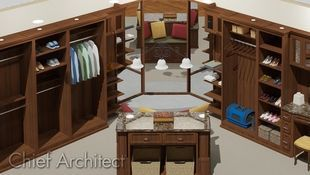 An overhead view of a large, custom closet with brown wood, corner mirror, a dressing island, and accessories.