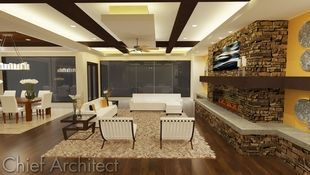 A contemporary living and dining room scene features ceiling beams, a shag area ruck, stone fireplace with wrap-around bench, and large picture windows to connect the space to the outside.