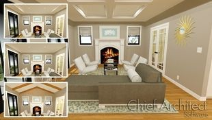 A perfect example of how a ceiling design impacts a room, this transitional living room is illustrated with a flat, trey, coffered, and vaulted beam ceiling.